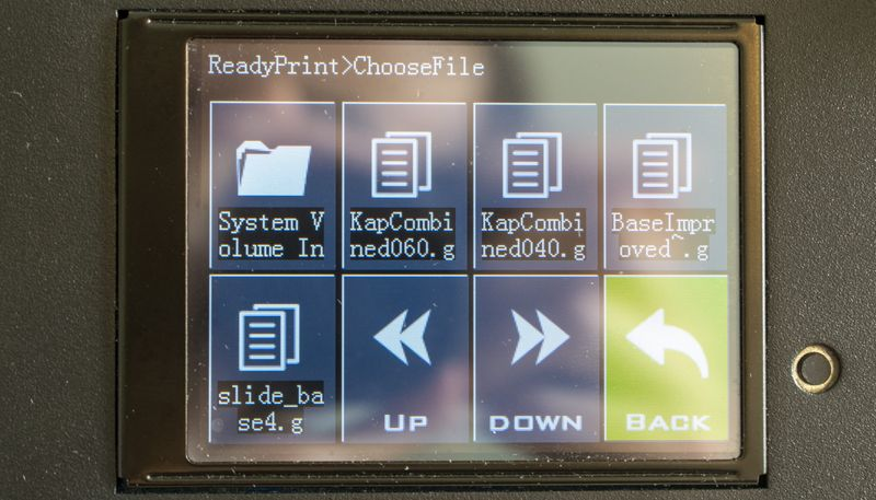 Artillery Genius Touch Screen Menu Browse Files