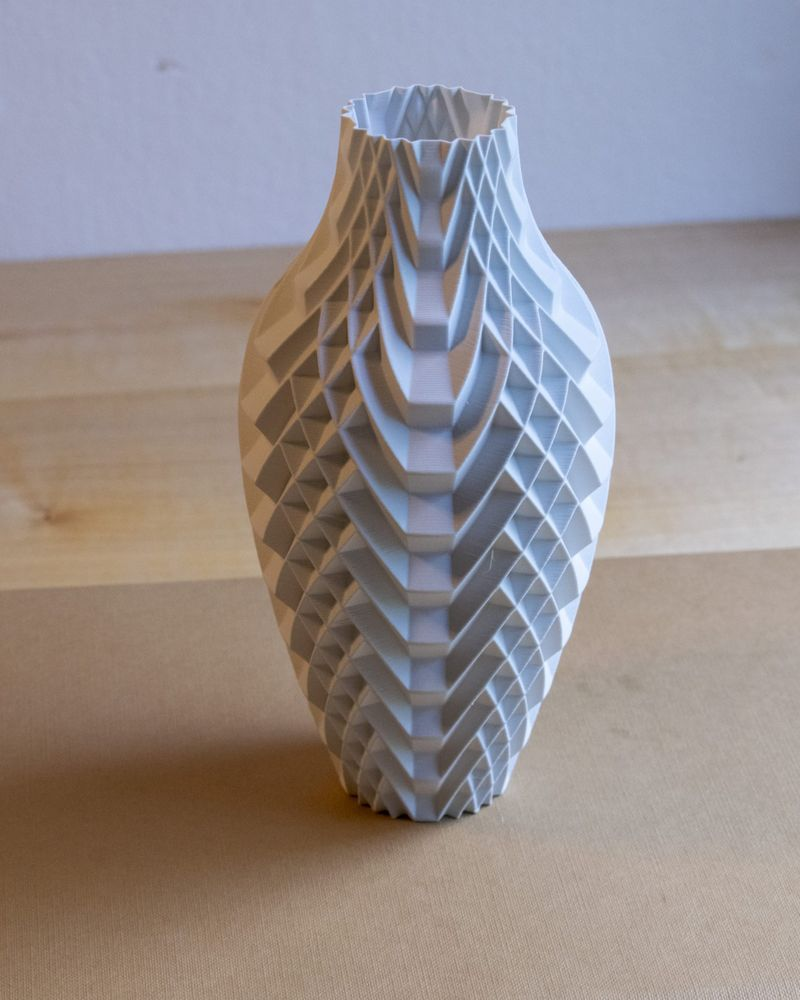 Real Matte White PLA 3D printed Vase