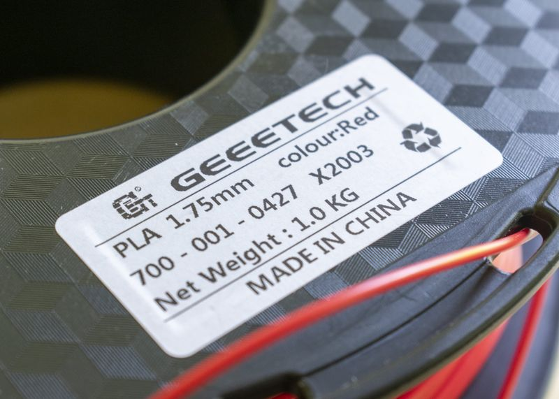 Geeetech Red PLA Filament Label Instructions